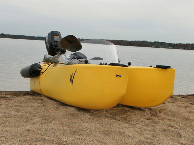 beached motorized kayak