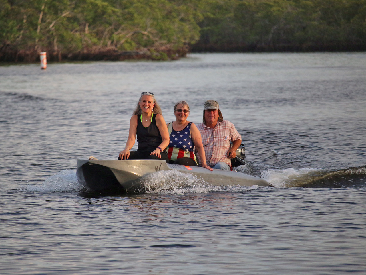 Wavewalk S4 skiff with a crew of three, Key Largo