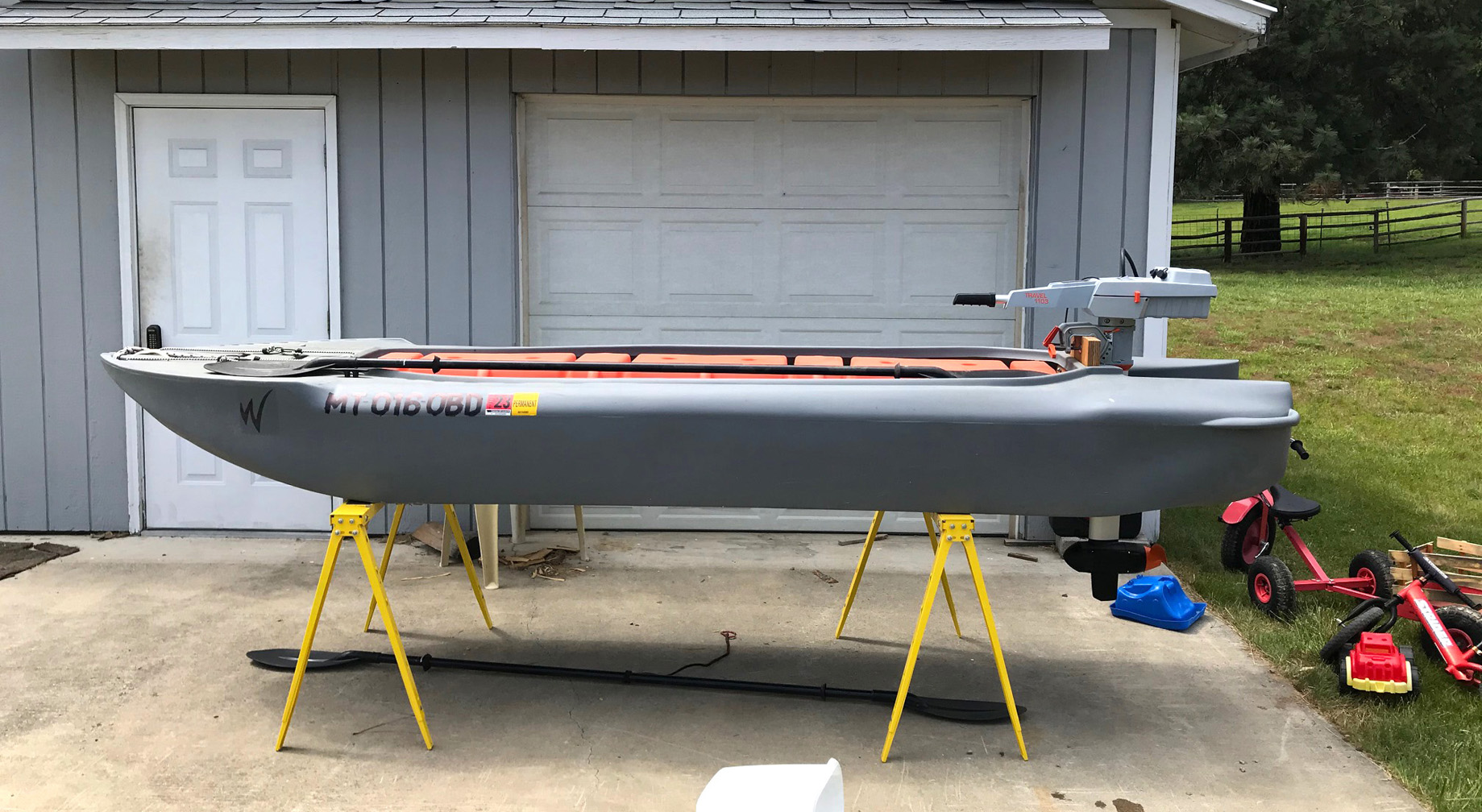 Wavewalk S4 skiff outfitted with an electric motor, Montana