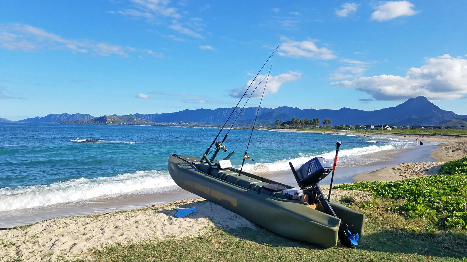 Wavewalk S4 seaworthy skiff beached in Hawaii