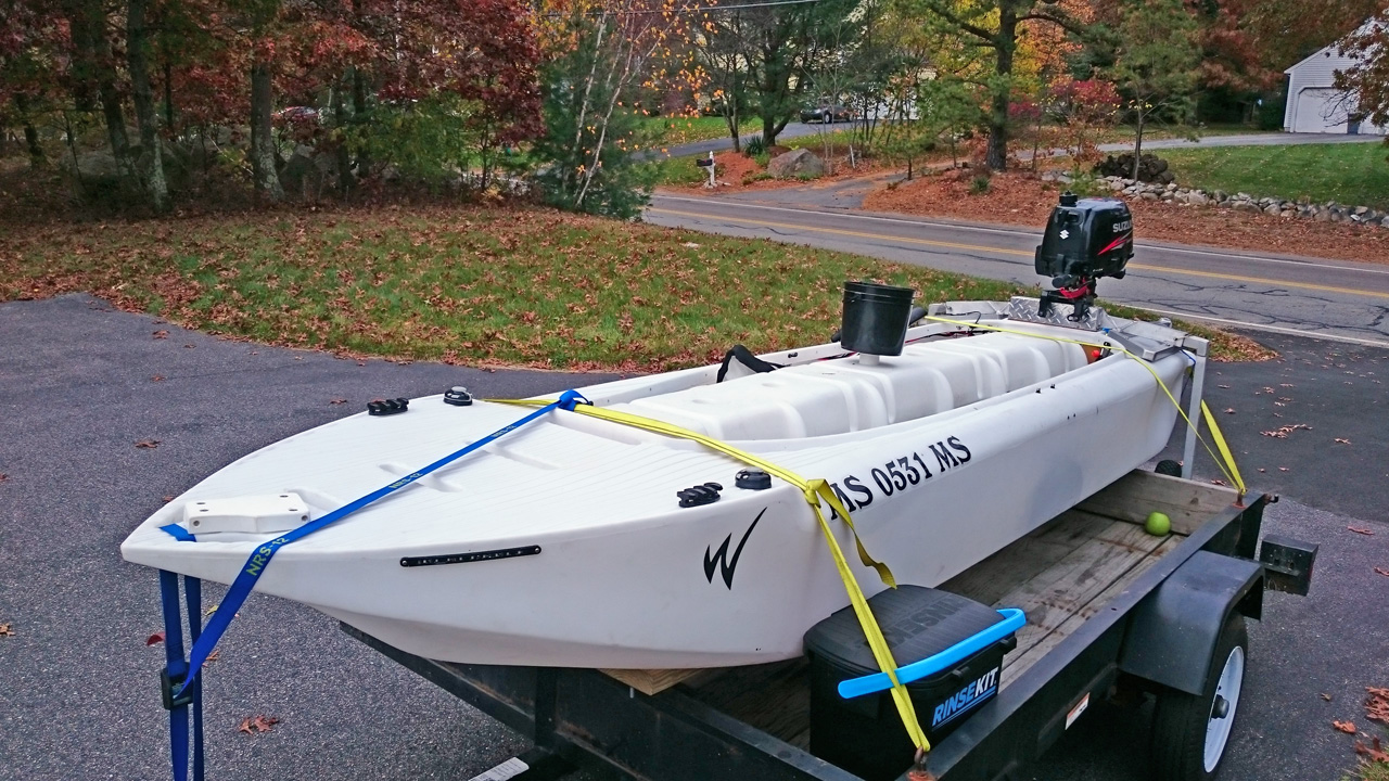 Wavewalk S4 offshore microskiff transported on trailer