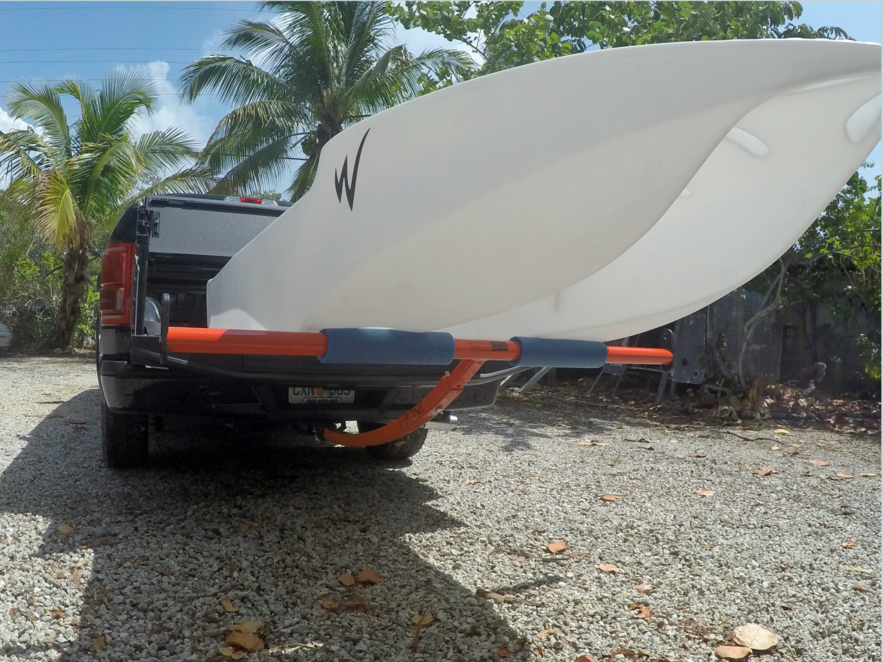 S4 skiff loaded on a pickup truck bed, Florida