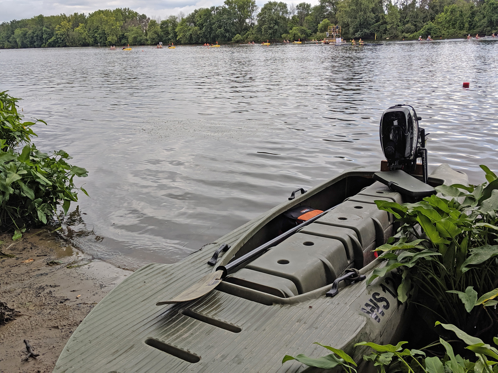 S4 skiff in camo color beached, Wisconsin