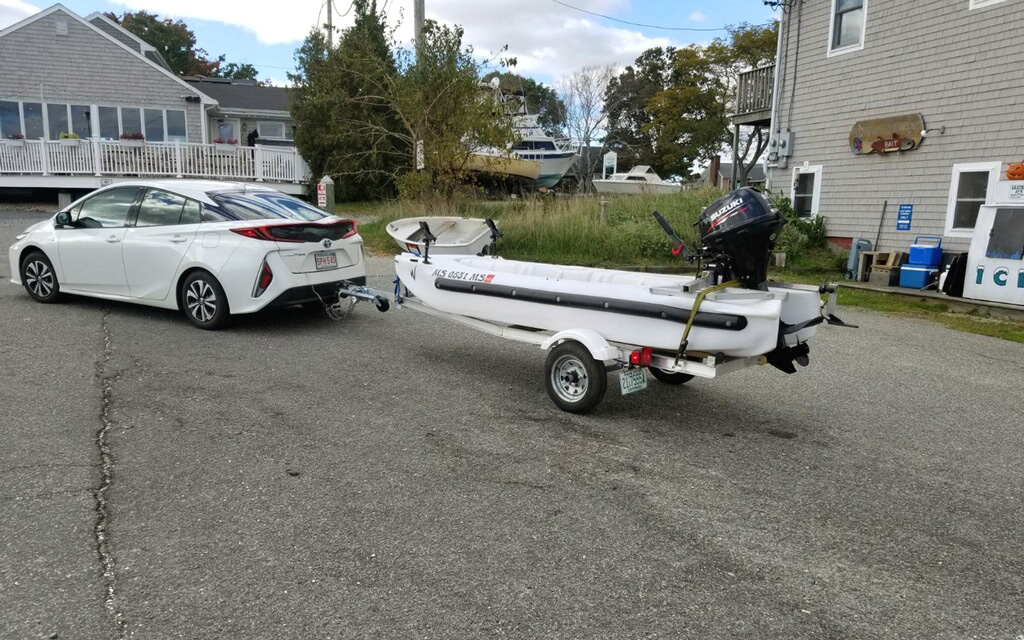 Wavewalk S4 offshore microskiff on trailer, Massachusetts