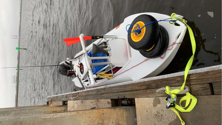 S4 seaworthy microskiff at the dock, Jax, FL